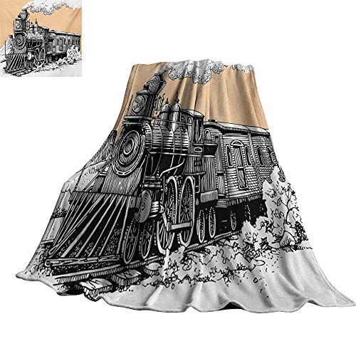 RenteriaDecor Steam Engine,Baby Blanket Vintage Wooden Train Rail Wild West Wagon in Countryside Drawing Effect Artsy Super Soft Cozy Throws 60