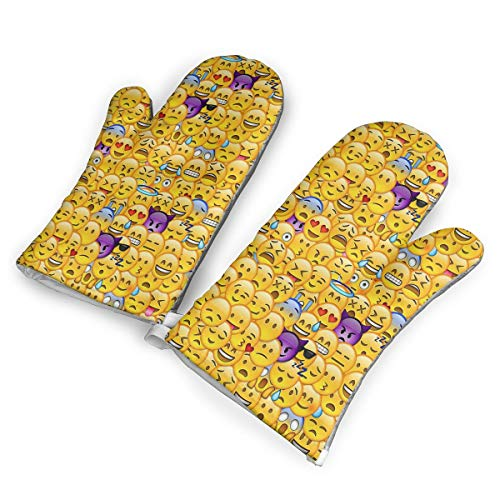 TRENDCAT Fondo De Pantalla De Emoticon Oven Mitts/Gloves - Heat Resistant Handle Hot Oven/Cooking Items Safely - Soft Insulated Deep Pockets Pack of 2 Mitts]()
