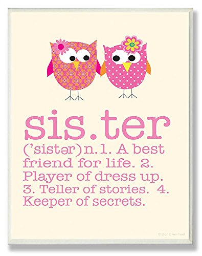 The Kids Room by Stupell Definition of Sister with Pink Owls Rectangle Wall Plaque, 11 x 0.5 x 15, Proudly Made in USA