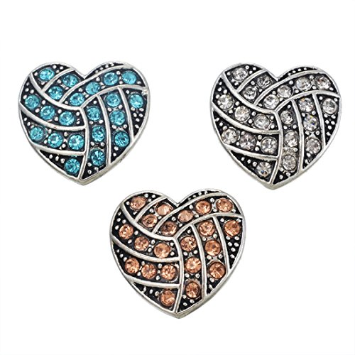 Souarts Solid Mixed Antique Silver Color Heart Shaped Rhinestone DIY