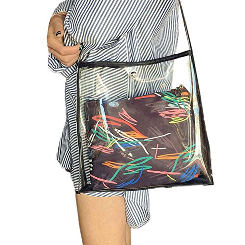 Xuanhemen Two Bag Set Women Girl Transparent Shoulder Bags Handbag Button Closure PU Crossbody Messenger Bags Fashion Bags by Xuanhemen