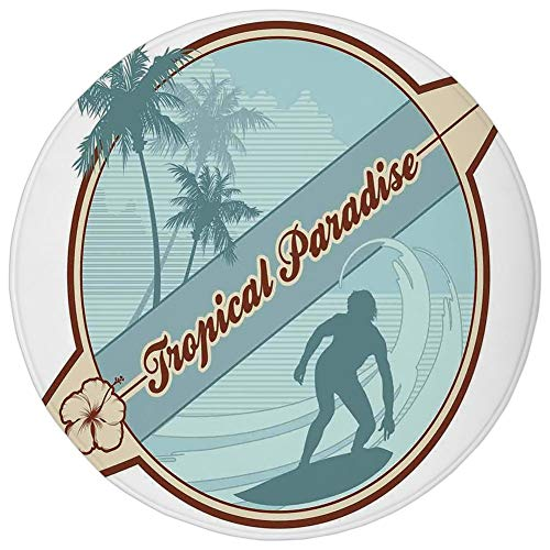 Round Rug Mat Carpet,Surf,Retro Image Silhouette of a Surfer and Palms Tropical Paradise Wave Illustration,Blue Cream Brown,Flannel Microfiber Non-slip Soft Absorbent,for Kitchen Floor Bathroom