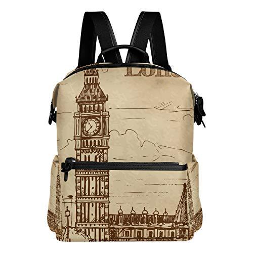 Vintage London Bigben School Backpack Large Capacity Waterproof Polyester Rucksack Satchel Casual Travel Daypack for Adult Teen Women Men -