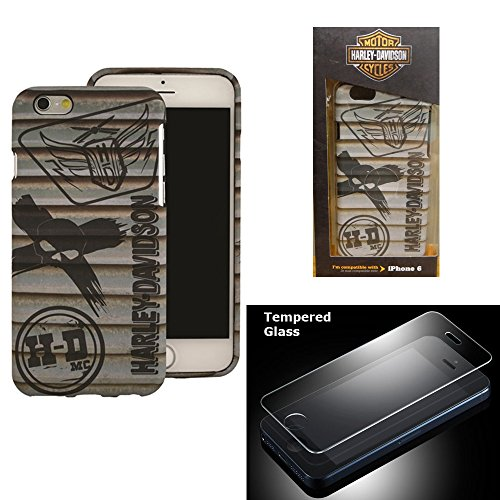 Harley Davidson iPhone 6s, iPhone 6 Semi Rigid TPU Gray HD Skull Cover with Tempered Glass Screen Protector.