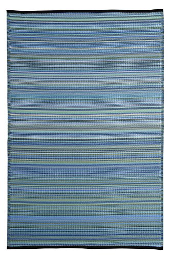 Stripe Indoor Outdoor Reversible Area Rug Blue Multi