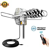 Outdoor TV Antenna Kainier Amplified HDTV Digital Antennas Easy Install and Set, 150 Miles Long Range Reception, Include Motorized 360 Degree Rotation and Wireless Remote