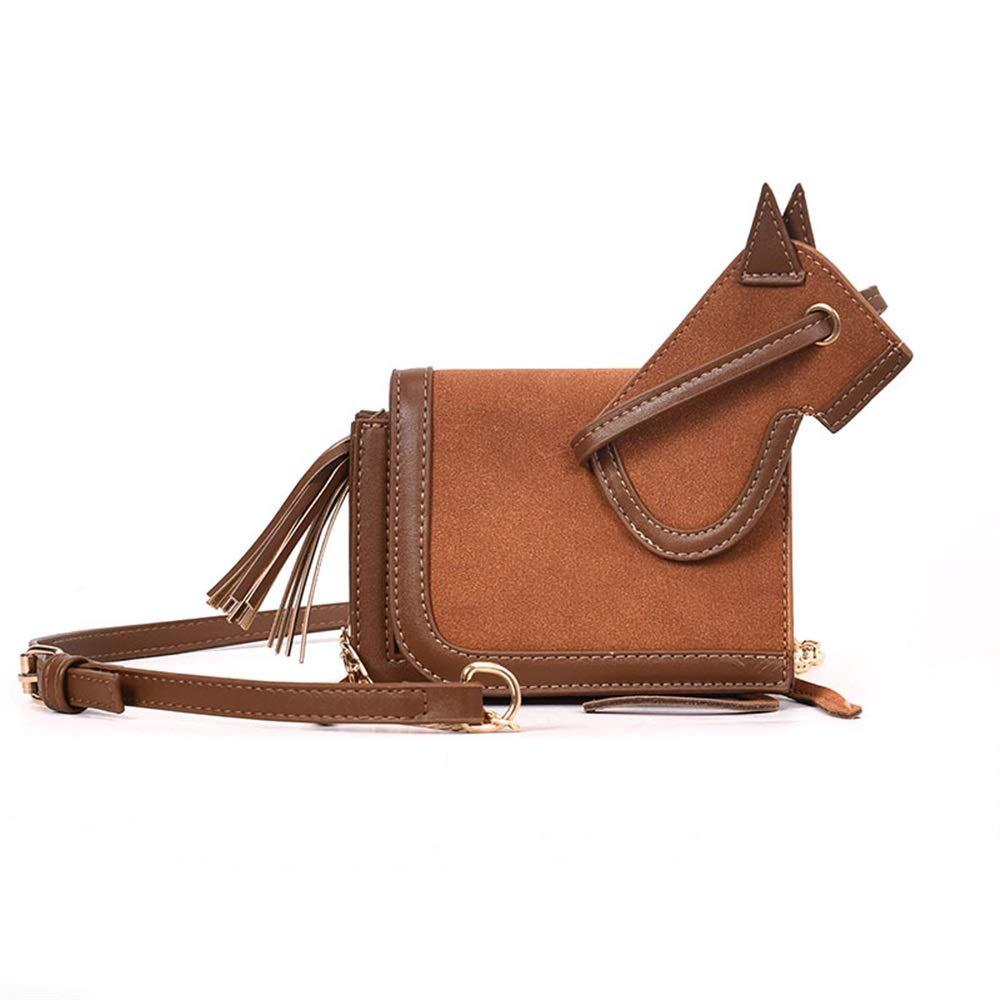 Royare Elegant Women Bag Gift Horse Shape Vintage Scrub Shoulder Chain Bag Crossbody Envelope Package (Brown)