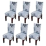 Jinshou 6PCS Dining Chair Cover Short Stretch Dining Room Slipcover Banquet Seat Protector 4#