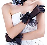 Gauss Kevin Short Black Bowknot Lace Gloves UV Protection Wrist Length Prom Party Wedding