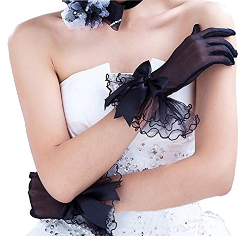Short Black Bowknot Lace Gloves UV Protection Wrist Length Prom Party Wedding