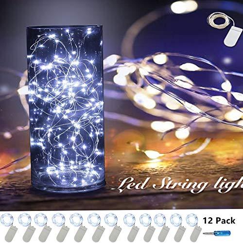 12 Pack Fairy String Lights 7.2ft 20LED Fairy Lights Battery Starry String Lights Copper Wire Lights Firefly Lights LED Moon Lights for DIY Christmas Decor Christmas Lights (12 Pack-Cool White)