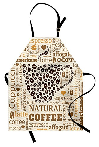 Coffee Apron - Ambesonne Modern Apron, Latte Cappuccino Affogato Natural with Cup Shaped Coffee Beans Image, Unisex Kitchen Bib Apron with Adjustable Neck for Cooking Baking Gardening, Cream Caramel and Brown