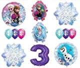 LoonBalloon FROZEN Anna ELSA OLAF Snowman Snowflake 3rd #3 12 Birthday Party Balloons Set O