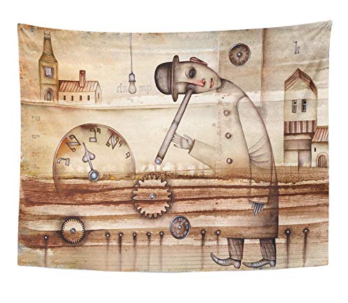 Emvency Tapestry Artwork Wall Hanging Brown Architecture Man and Clock Watercolor City Cubism Cubist Eugene Light 60x80 Inches Tapestries Mattress Tablecloth Curtain Home Decor Print