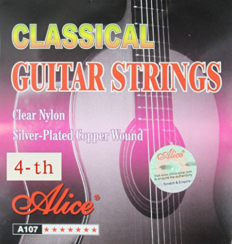 on Core Silver Plated 4-th Fourth Single D Classical Guitar Strings Standard Tension (.029 inch/0.74mm) ()
