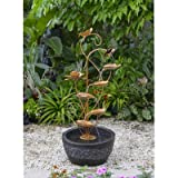 Jeco FCL109 Multi-tier Metal Leaves Water Fountain