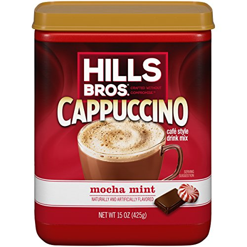- Hills Bros. Instant Cappuccino Mix, Mocha Mint Cappuccino Mix - Easy to Use, Enjoy Coffeehouse Flavor from Home -Decadent Cappuccino with a Mix of Chocolate and Mint Flavors (15 Ounces, Pack of 6)
