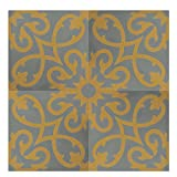 Moroccan Mosaic & Tile House CTP01-15 Agadir 8''x8'' Handmade Cement Tile (Pack of 12), Gray Yellow
