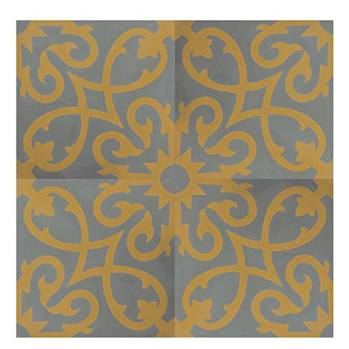 Moroccan Mosaic & Tile House CTP01-15 Agadir 8''x8'' Handmade Cement Tile (Pack of 12), Gray Yellow by Moroccan Mosaic & Tile House