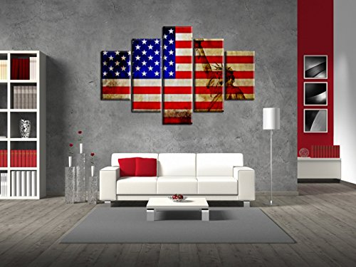 Art Retro Rustic American Flag Canvas Painting Print Large USA map Wall Art Vintage Flag Decor Party Paintings Giclee Artwork for Living Room Wall Decoration Stretched and Framed(60''W x 32''H) Party Framed Canvas Art