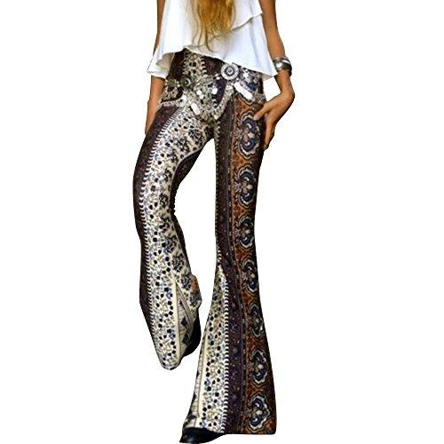 (Women Stretchy Soft Boho Print High Waist Flared Bells Floor-Length Pants L )