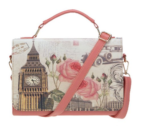 Buenocn Women Retro Print Graffiti Shoulder Bag Pu Leather Handbag Ls3111 (pink)
