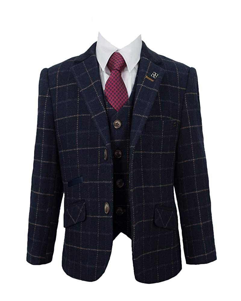 Cavani Boys Shelby Navy 3 Piece Tweed Suit for Wedding Formal Occasion, 1-14 Years