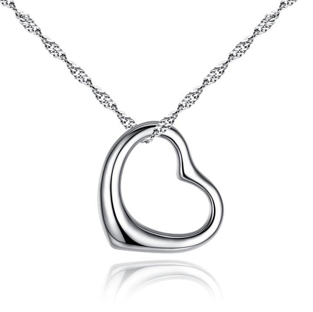 Diamondwize Sterling Silver Gift of True Love [Large Size] Open Heart Pendant with 50cm, 18k WG Wave Chain Necklace [Sale Price]