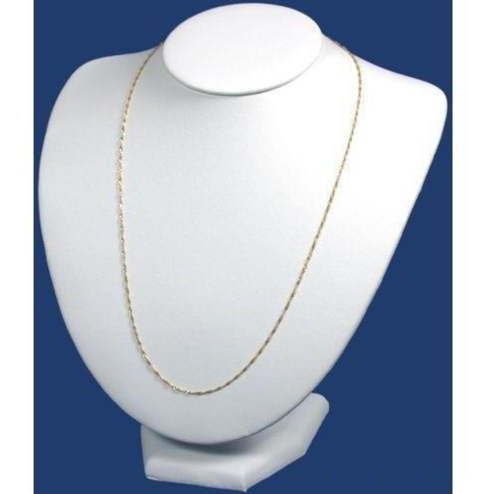 White Leather Bust Chain Necklace Display 189-4LWW
