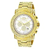 LUXURMAN Escalade Large Iced Out Mens Diamond Watch Yellow Gold Plated White MOP Dial 2ct