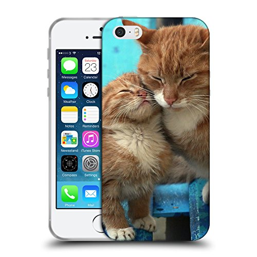 Just Phone Cases Coque de Protection TPU Silicone Case pour // V00004244 Ginger chat embrasse son chaton // Apple iPhone 5 5S 5G SE