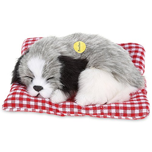 Simulation Lovely Dog That Make Sounds Doll Cute Sleeping Plush Dog Puppy on Mat Stuffed Puppy Animals Toy Birthday Gift Decorations Furnishing Article and Craft,1Pcs Sleeping Dog with A Mat ()