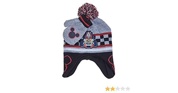 0b6ddb6d7c831 Amazon.com  Mickey Mouse   The Roadster Racers Toddler Little Boys Winter  Hat   Mitten Set  Clothing