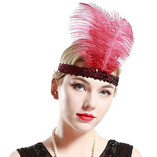 BABEYOND 1920s Flapper Headband Roaring 20s Sequined Showgirl Headpiece Great Gatsby Headband with Wine Red Feather]()