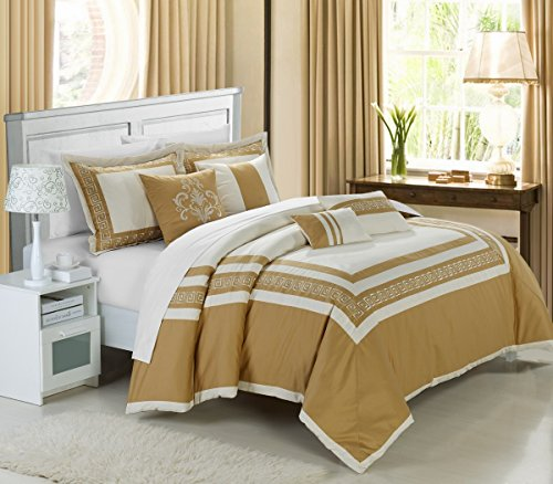 (Chic Home 7-Piece Venice Embroidered Comforter Set, Queen, Beige Gold )