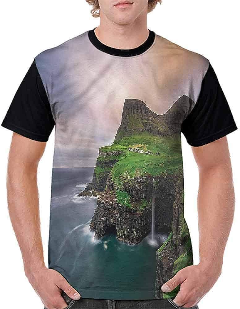 BlountDecor Casual Short Sleeve Graphic Tee Shirts,Cliffs Northern Village Fashion Personality Customization