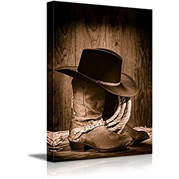 Old cowboy boots and hats western rodeo wall for Cowboy wall mural