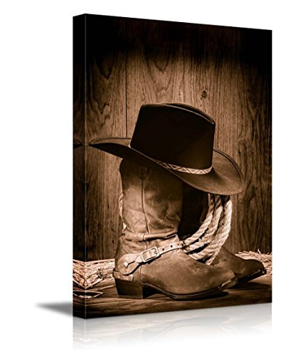 Wall26 Canvas Prints Wall Art - American West Rodeo Cowboy Black Felt Hat Atop Worn Western Boots Vintage Style |Home Decoration Stretched Gallery Canvas Wrap Giclee Print & Ready to Hang - 16