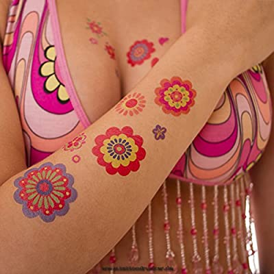 5 x Hippie Tattoo Card - 145 Colorful Flower Power Peace Skin Tattoos - Carnival 60's Party (5): Toys & Games
