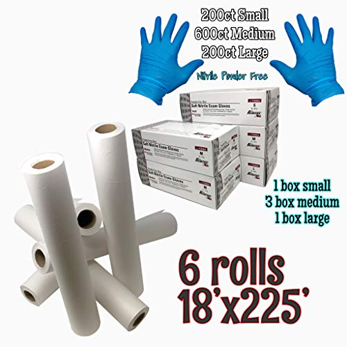 - Medical Exam Bundle: Case of 6 Exam Table Paper 18'x225' with Complete Set of 1000Powder Free Nitrile Glove Case| Includes Small 200ct, Medium 600ct, Large 200ct