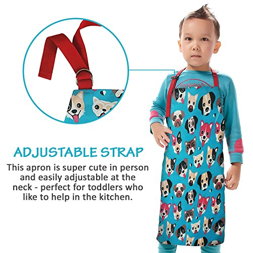Child Apron For Cooking and Painting - Unique Cute Dog Print in Wipe Clean PVC Coated Cotton for Toddlers Age 4-7 (medium, blue) by Dinky Ninky (Image #4)