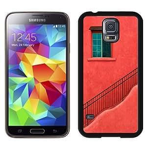 NEW Unique Custom Designed Samsung Galaxy S5 I9600 G900a G900v G900p G900t G900w Phone Case With Red House Wall Window Stairs_Black Phone Case