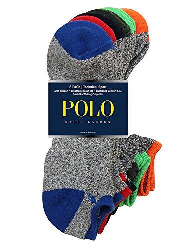 Polo Ralph Lauren 6-Pack Technical Sport Ped Socks