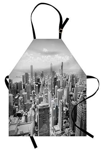 Lunarable USA Apron, Chicago City Skyline Aerial View Contemporary Famous Touristic Places Picture Print, Unisex Kitchen Bib with Adjustable Neck for Cooking Gardening, Adult Size, Black Grey