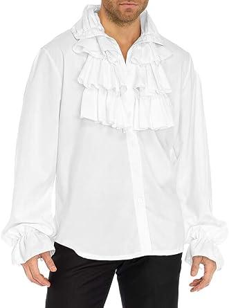 Fueri Camisa de Volantes Hombre, Estilo Medieval, Estilo gótico, para Halloween, Carnaval, Cosplay Blanco XXL: Amazon.es: Ropa y accesorios