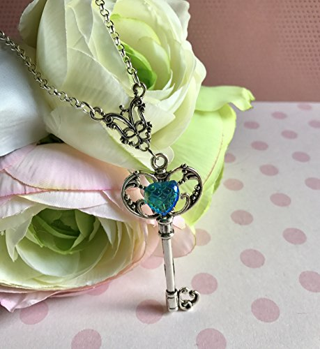 Sailor Moon Inspired Blue Mermaid Scale Jeweled Skeleton Key and Black Cord Choker Necklace Pastel Cosplay Anime Keyblade Charm -