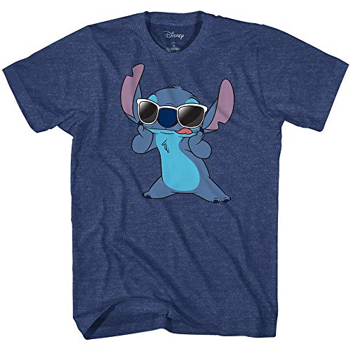Disney Lilo and Stitch Sunglasses Famous T-Shirt (Medium, Premium Heather ()