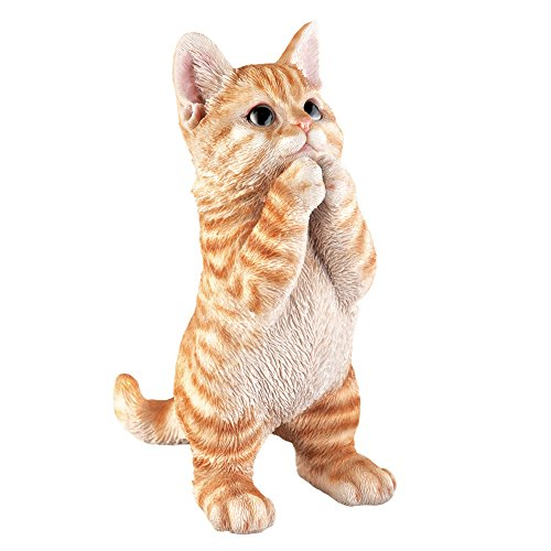 Collections Etc Realistic Pet Praying Figurine, Hand-Painted Statue Indoor or Outdoor Decoration, Tabby Cat