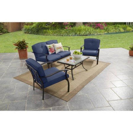 4-Piece Outdoor Sofa Set, Includes 1 Loveseat, 2 Chairs & Coffee Table, Self Reversing, Comfortable Cushions, Powder-Coated Steel Frames, Tempered Glass Tabletop, Blue + Expert Guide