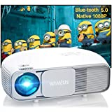 Bluetooth Projector Native 1080P 10000:1 Full HD Brightness Lumens  New WiMiUS S4 Home & Outdoor Led Video Projector Support 4K / Zoom  Compatible w/ Laptop  iPhone  Android  Fire TV Stick  PPT  DVD